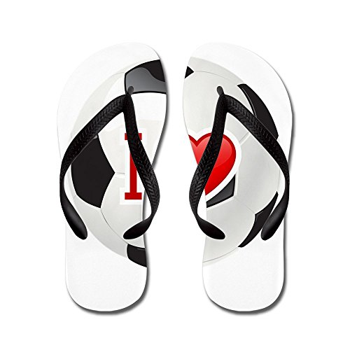 Price comparison product image Royal Lion Kid's I Love Soccer Football Futbol Black Rubber Flip Flops Sandals 11.5-13