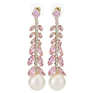 Leto Women's Alloy Drop and Dangle Earring - Pink and White