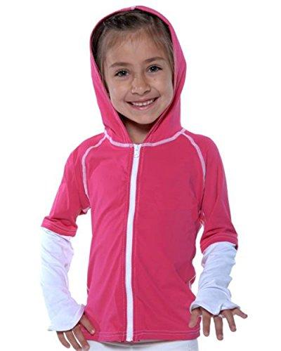 SunSkinz Kids Zip-Up Long Sleeve Hoodie Rash Guard Jacket 100 SPF & 50+ UPF (Pink White, 10)