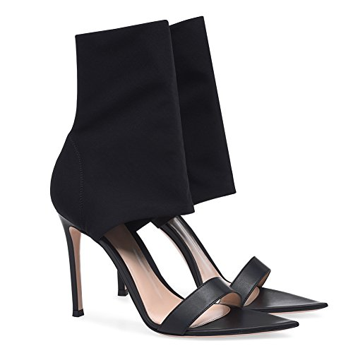 High Pointed Peep Party ZPL Prom Red Strappy Shoes Stiletto Black Black Ladies Strap Sandals Toe Ankle Heel Womens zqAqFxIg