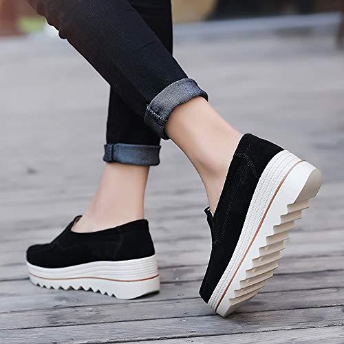 Zapatillas Botas Sneaker Casual Zapatos Mujer Verano de Tobillo de Adulto Plataforma Lona Malla Respirable POLP Sandalias Mujer Zapatos para de Tela Zapatillas Negro Mocasines Altas Deportes rUEr0Wq