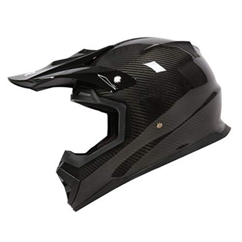 Sunzy Motocross Helmet, Carbon Fiber Full Coverage Lightweight Pull Helmet, DOTECE Certification,XL