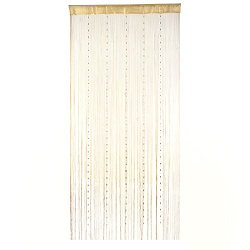 uxcell Room Decor Pendant Ornament Fringe Divider Hangings Bead String Curtain Champagne Color