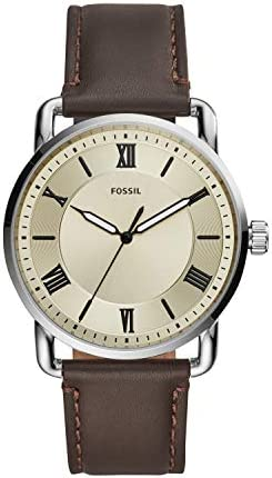 Fossil Men's Copeland Stainless Steel Quartz Watch with Leather Strap