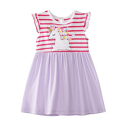 Cute Girl Angel Sleeve Unicorn Dress Cotton Pink Stripe Lavender Skirt Party Sundress Daily Casual Dress