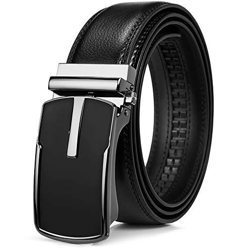 Mens Ratchet Slide Leather Belts Automatic or Adjustable Single Prong Buckle