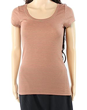BCBG Max Azria Pink Womens Small Striped Tee T-Shirt Brown S