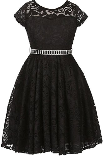 Little Girl Cap Sleeve Lace Skater Stone Belt Flower Girls Dresses (19JK88S) Black 2