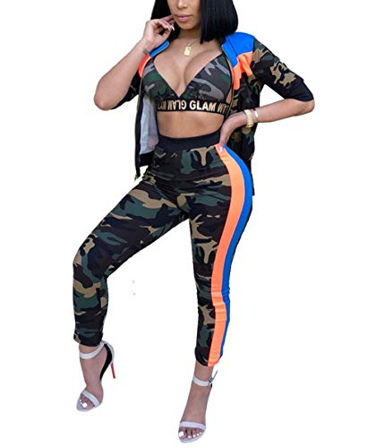 ECHOINE Women Sexy 3 Piece Outfits Camouflage Print Long Sleeve Crop Top Pants Sets Bodycon Tracksuits -