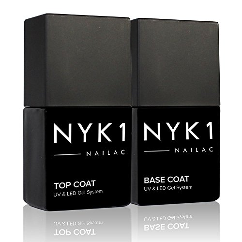 NYK1 Nailac Professional Base Coat and Top Coat Clear Gel Nail Polish - Salon Quality Soak Off LED and UV Nail Gel - Shellac Compatible Pack of 2 (10ml) (Cnd Gel Base And Top Coat)