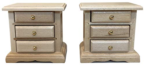 Inusitus Wooden Dollhouse Night Stands   Set of 2   Bedside Tables   Dolls House Furniture   1/12 Scale (Light)