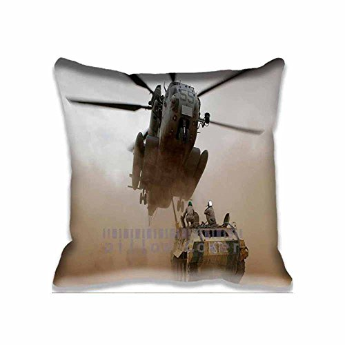 Simple Decor Tank And Helicopter Army Decorative Zippered Throw Pillow Covers Cushion Case Standard 20x20 Inch (2 Sides)