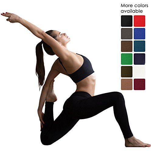 VIV Collection Signature Leggings Yoga Waistband Soft and Strong Tension w/Hidden Pocket (L, Black)