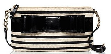 Kate Spade Celina Villabella Crossbody Bag Purse, Fabric with Patent Leather Trim and Bow, Black (Bow Trim Shoulder Bag)