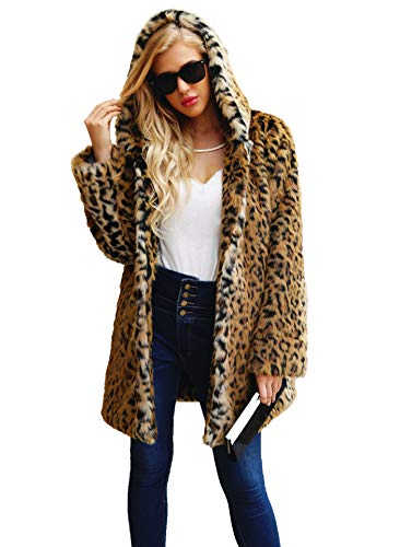 Women's Leopard Faux Fur Coat Vintage Warm Long Sleeve Parka Jacket Outwear ()