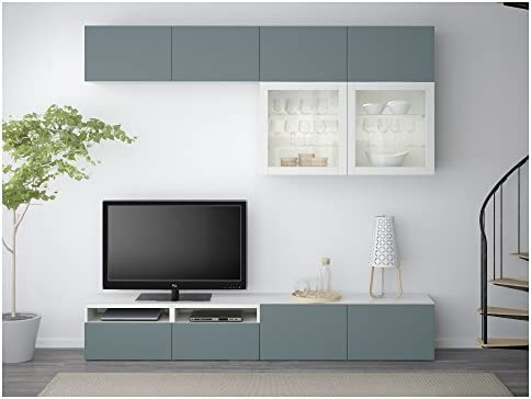 Zigzag Trading Ltd IKEA BESTA - Almacenamiento combinación de TV/Puertas de Vidrio Blanco/Gris Claro valviken Vidrio-Turquesa: Amazon.es: Hogar