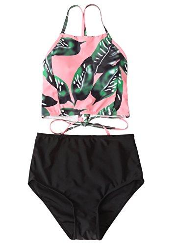 Anbech Women Stripe Halter High Waisted Push Up Bikini Set Bathing Suits (S, leaves+black) (Halter Dot Banded Polka)