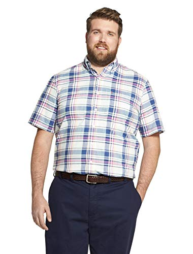 (IZOD Men's Big and Tall Saltwater Dockside Chambray Short Sleeve Button Down Plaid Shirt, Yucca, 4X-Large)