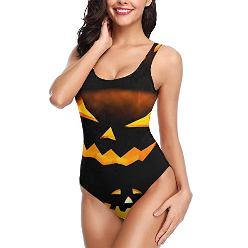 YING Halloween Calabazas Women's Quick Drying One Piece Swimsuits Elasticity Bathing Suit Swimwear Soft Cup Black -
