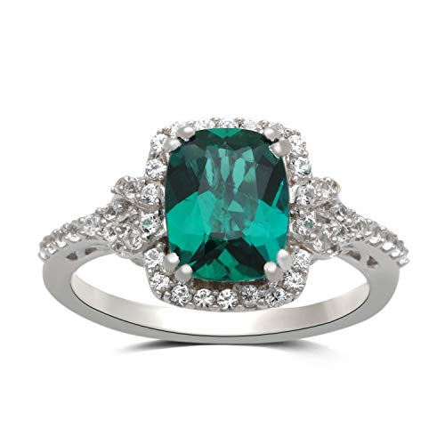 - Jewelili Sterling Silver 9x7mm Cushion Cut Created Emerald and Round Created White Sapphire Halo Ring, Size 6