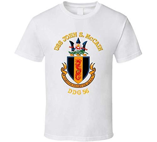 LARGE - Navy - Uss John S. Mccain (ddg-56) Wo Bakgrd T Shirt - White