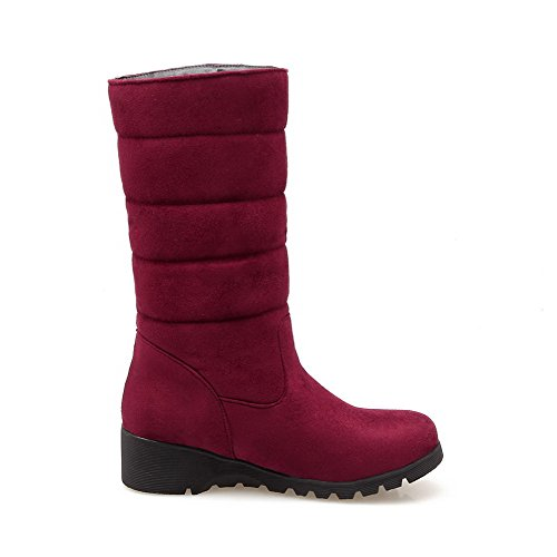 AgooLar Women's Low-Heels Solid Round Closed Toe Frosted Pull-on Boots Claret ZeJKHGzZ