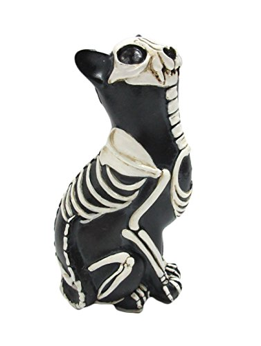 Pacific Giftware Day of The Dead Cat Meowing Dia De Los Muertos Cat Sugar Skull Cat Set of 2 Halloween Day of The Dead Decor 6 inch Tall (Single Cat A) -