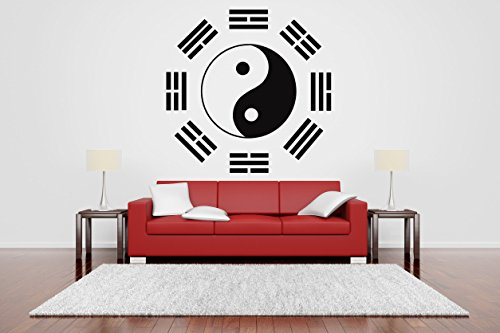 Wall Room Decor Art Vinyl Sticker Mural Decal Ying Yang Sign Logo Aikido Sport Poster Mixed Martial Arts -