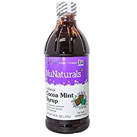 NuNaturals NuStevia Sugar-Free Chai Spice Syrup, Natural Stevia Sweetener, 16 Ounce, chai spice syrup 9 100% Natural - Stevia Cocoa Mint Syrup is made using only: Stevia Extract, Glycerin and Water and Peppermint, making it a zero-calorie sugar-free sweetener. All-Purpose Sweetener - This sugar substitute can be used in coffee, ice cream, chocolate milk, hot chocolate, or peppermint mochas. Oregon-Grown Peppermint - Made from the finest oil of peppermint grown right here in the Willamette Valley of Oregon, considered to produce the best-tasting peppermint available.