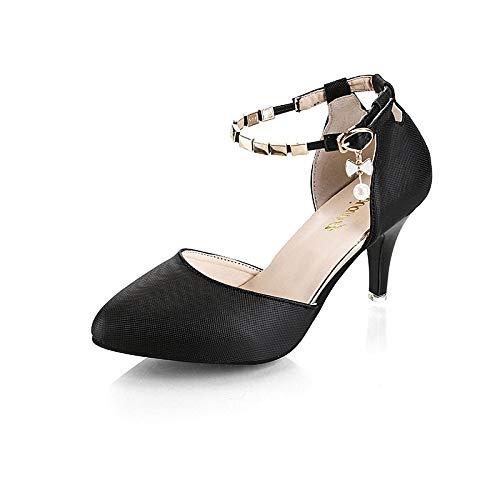 Pink PU Shoes Women's Toe Stiletto Black Slingback Summer Pointed Polyurethane ZHZNVX Heels Pink Buckle Heel White x6RTUw