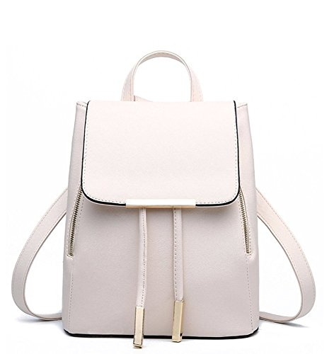 (WINK KANGAROO Women's Fashion Shoulder Bag Rucksack PU Leather Backpack Travel Bag, Beige, Medium)