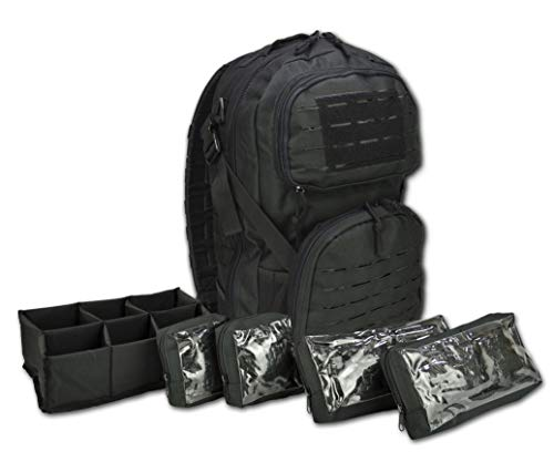 Lightning X Premium Tactical Medic Backpack w/Modular Pouches & Hydration Port (Stealth Black)