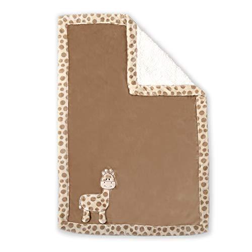 Baby's First by Nemcor Ultra Soft Reversible Baby Blanket, Giraffe, Brown