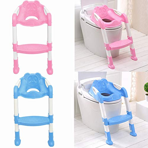~ Kids Toilet Potty Trainer Seat Step Up Training Stool Chair Toddler with Ladder Folding by ~