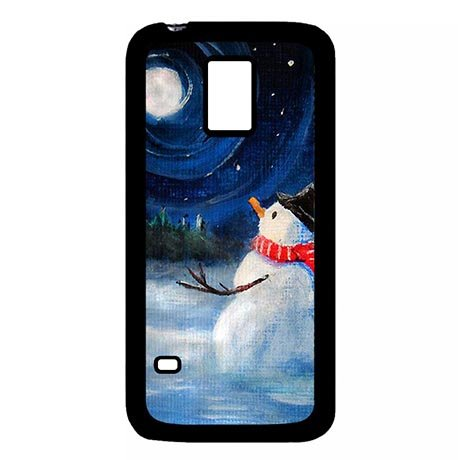 Treasure Snowman With The Moon Samsung Galaxy S5 Mini Rugged Plastic Cover Case For Girls