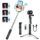 Mpow Selfie Stick Tripod with Detachable Bluetooth Remote, 3 in 1 Mini Pocket