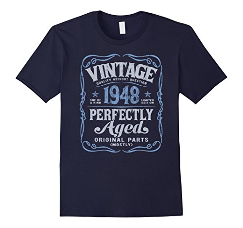 Mens Vintage Made In 1948 T-Shirt 70th Birthday Gift Large Navy