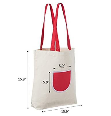 Reusable Canvas Tote Bags with Extra Heavy Duty Natural Cotton, 12 Oz! Friendly Design Perfect as Grocery and Shopping Bags (Assorted 4 Pack)