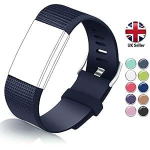 STAY Active Correas de Recambio para Fitbit Charge 2, Reloj Inteligente y Deportivo para Mujer y Hombre | Marca del Reino Unido - Diamante de Silicona: ...