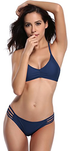 SHEKINI Womens Bikini Padded Cutout Strappy Halter Swimsuits Two Piece Bathing Suits (Large/(US 12-14), Malibu Blue) Cut Out Halter Swimsuit
