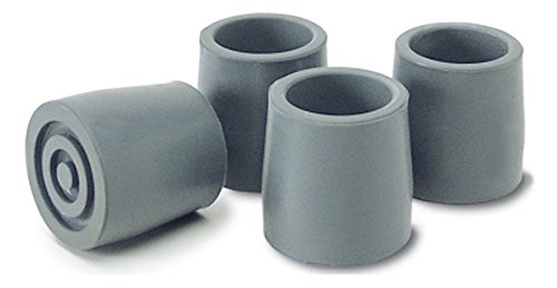Pivit Heavy-Duty Walker, Commode and Bath Bench Replacement Rubber Tips, Gray, 1 1/8