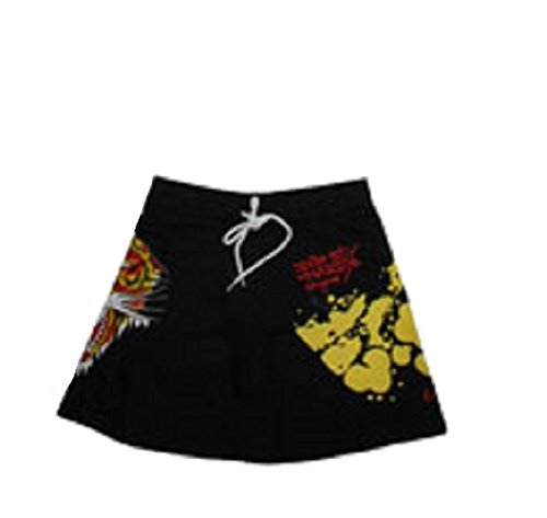 Ed Hardy Tiger Stretch French Terry Mini Skirt (Black, ()