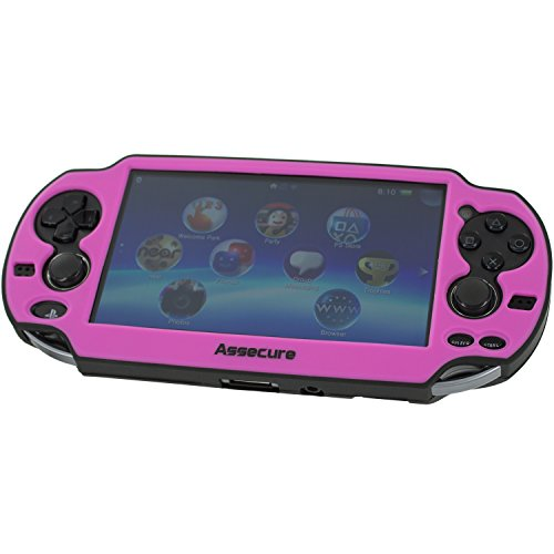 Assecure Pro Black & Pink Silicone Gel Skin Protector Cover Protective Bumper Grip Case for Sony PS Vita (PSP PSV)