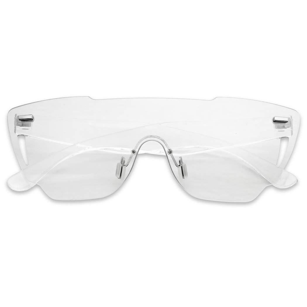 Full Shield Rimless Futuristic Disoc Mono Lens Sport Style Sunglasses (Grey Transparent, 155) by SunglassUP