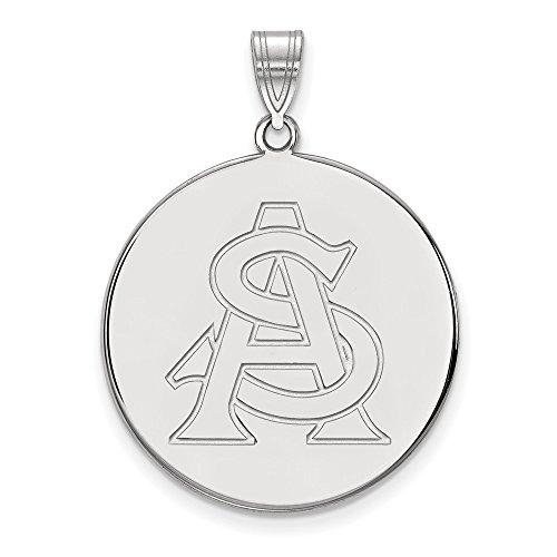 14k White Gold LogoArt Official Licensed Collegiate Arizona State University (ASU) XL Disc Pendant by Logo Art
