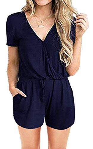 (ECOWISH Womens Summer V Neck Romper Elastic Waist Sleeveless Belted Short Jumpsuit Rompers 974Navy Blue Small)
