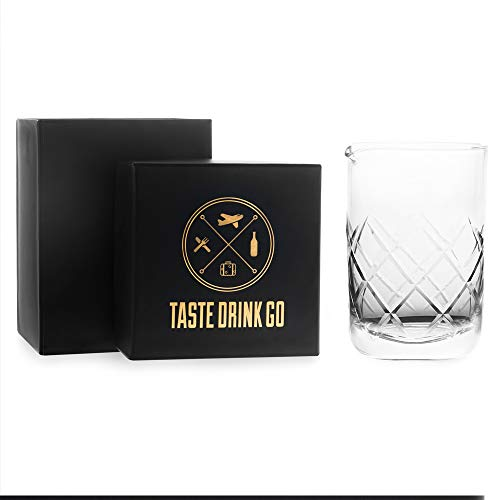 Cocktail Mixing Glass for Home Bar - Mixing Glass - Professional Bartender Tool for Cocktail Set Cocktail Party Supplies & Cocktail Kit Barware - Bar Accessories - Dishwasher Safe 18 oz Etched Glass by Taste Drink Go (Image #4)