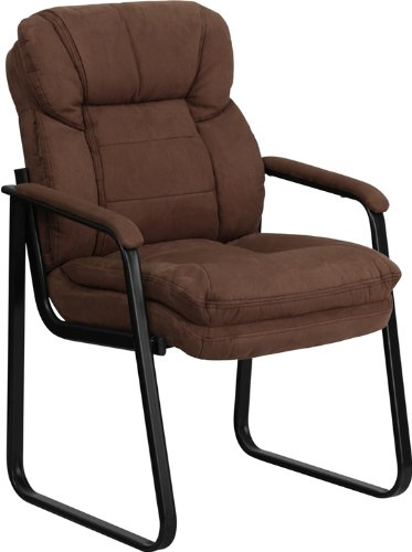Flash Furniture Brown Microfiber Executive Side Reception Chair with Lumbar Support and Sled Base by Flash Furniture
