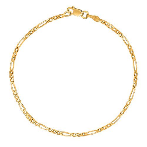 Ritastephens 14k Yellow Gold Figaro Link Foot Chain Anklet Ankle Bracelet 2.8 Mm 10 Inches