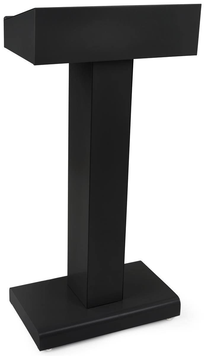 Displays2go Steel Podium with Rectangular Base, Open Storage Area, Powder Coated Finish - Black (LCTMETFBLK) by Displays2go